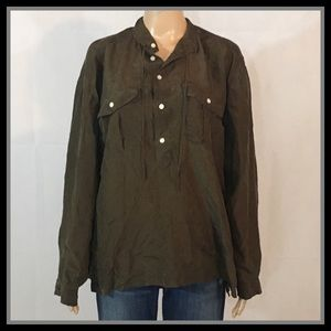 Polo by Ralph Lauren Button Olive Green Blouse